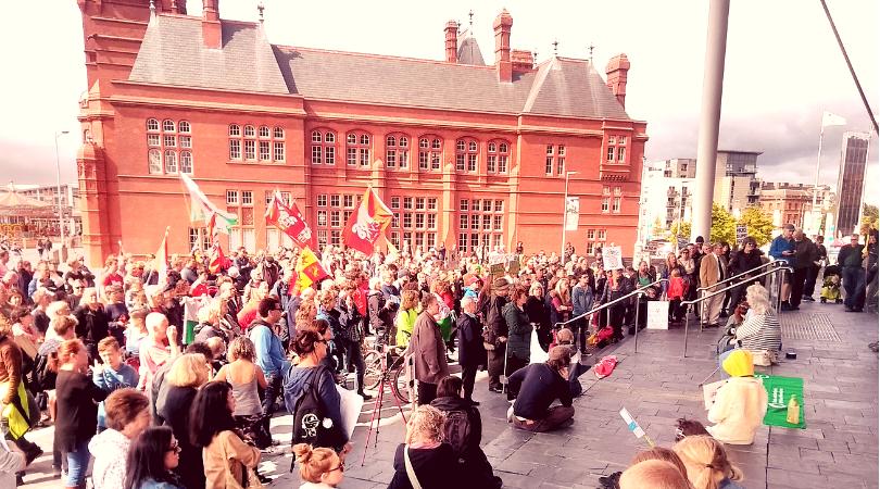 YesCymru nuclear mud protest