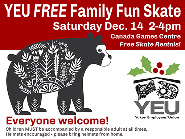 Family Skate poster - December 14, 2-4 pm at the CGC.