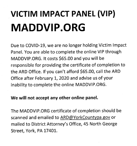 Handout containing details for completing a MADD Victim Impact Panel