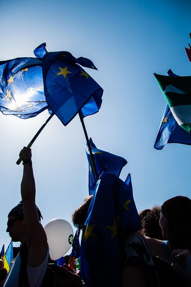 People holding EU flags