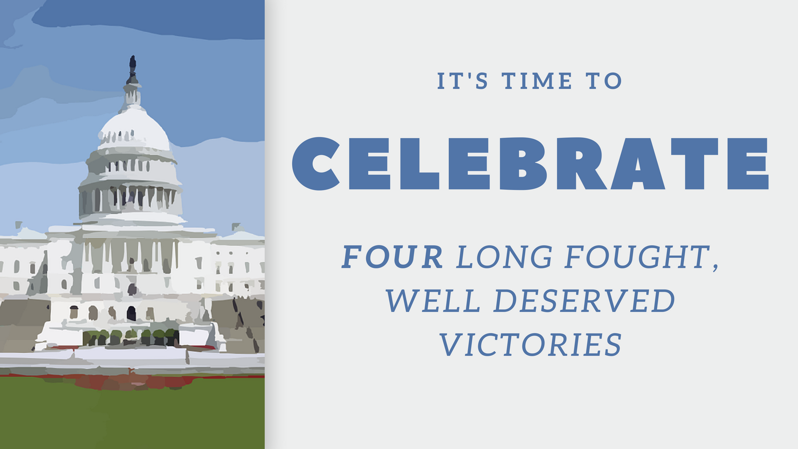 Four victories. Let's celebrate!