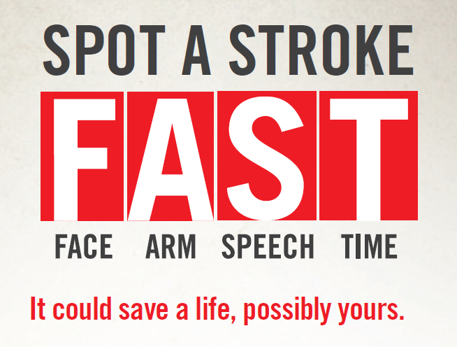 Image with Stroke Warning Signs; F.A.S.T., Face, Arm, Speech, Time