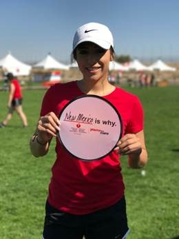 Heart Walk Participant holding a sign that says, \