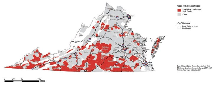 map of Virginia with areas of greatest need highlighted in red