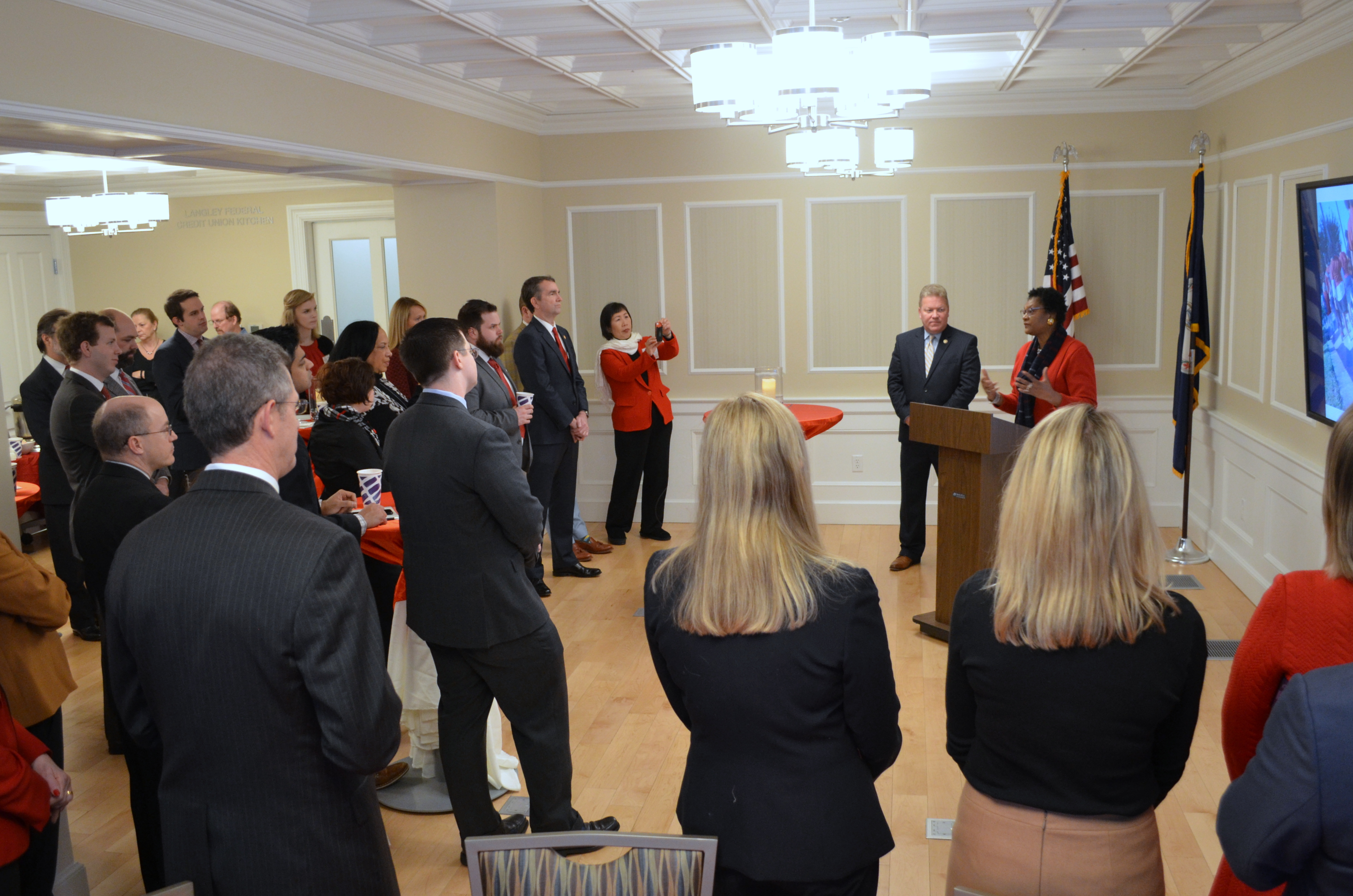 Senator Bill Stanley and Delegate Delores McQuinn before AHA volunteers, board members, and coalition partners as Governor Raleigh Northam, Secretary Health and Human Resources Dr. Daniel Carey (cardiologist), and other elected officials listen in about the need for the Virginia Grocery Investment Fund.