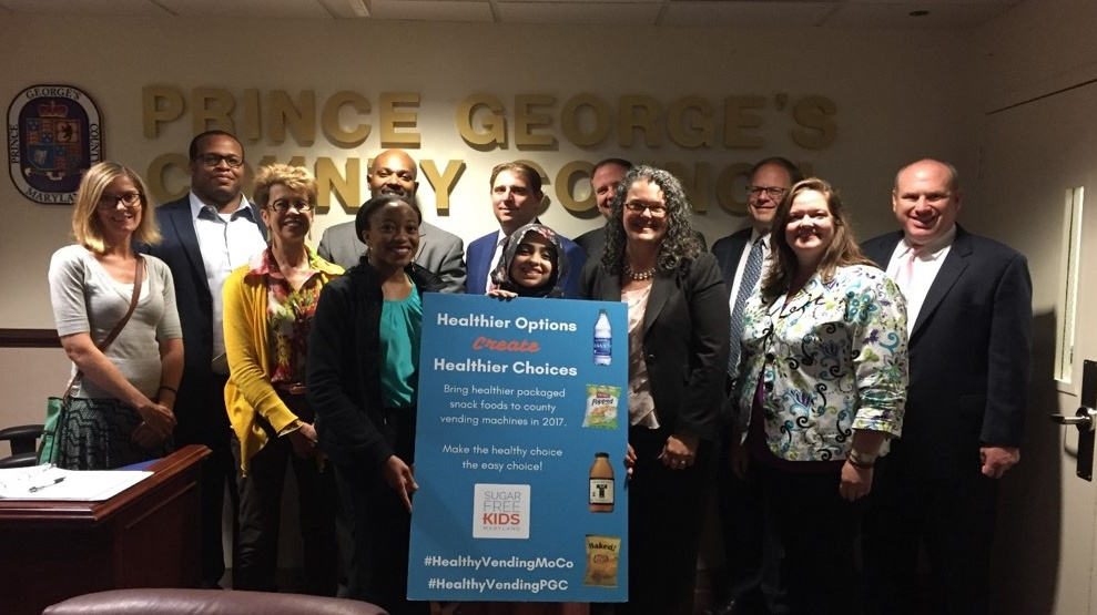 Bill sponsor Councilmember Dannielle Glaros celebrates passage of the healthy vending bill with coalition members, including AHA and Sugar Free Kids Maryland