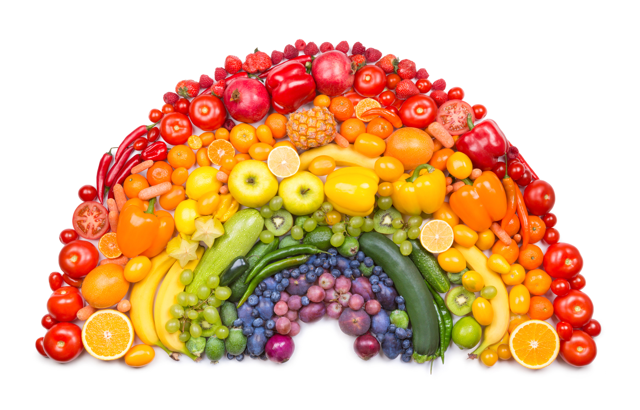 Vegetables shaped into a rainbow