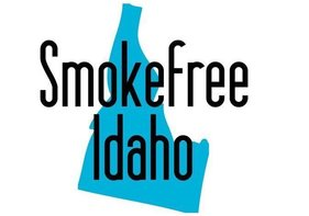 The words smokefree Idaho over a picture of the state of Idaho