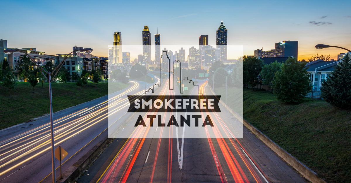 Atlanta with smoke-free Atlanta logo