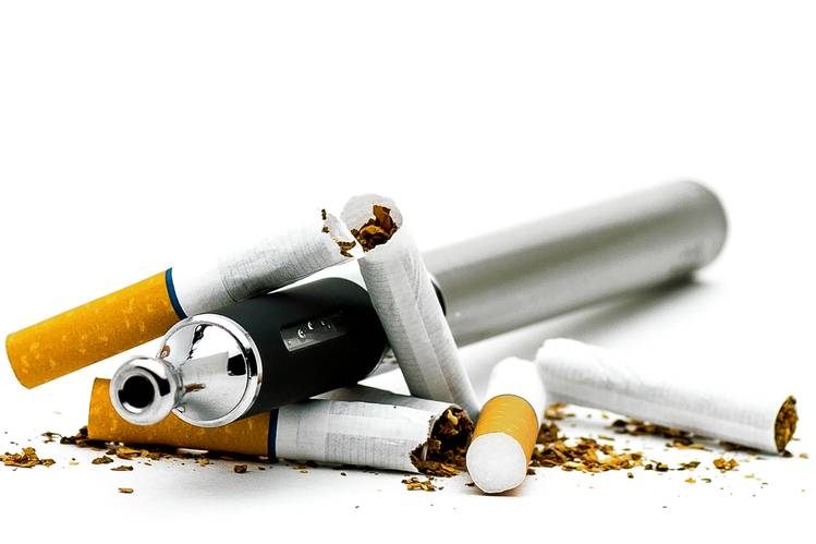 Picture of cigarettes and e-cigarettes