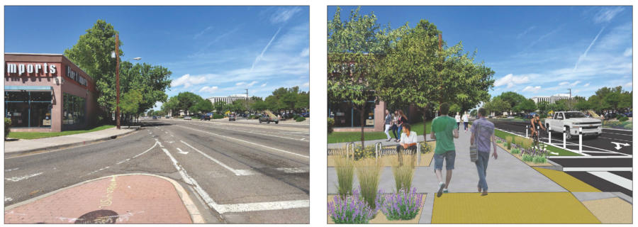 "The ""before"" photo and ""after"" artist's rendering of what the amended Complete Streets ordinance could do to make Indian School Boulevard just west of Louisiana Boulevard safer."