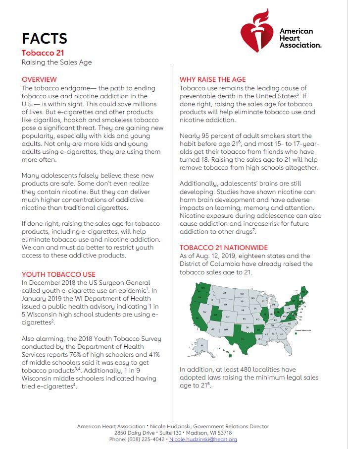 WI Tobacco 21 fact sheet