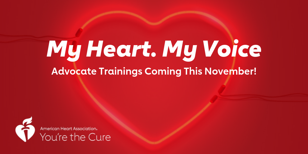 """A red heart with the text """"My Heart. My Voice. Advocate Trainings Coming This November!"""""""