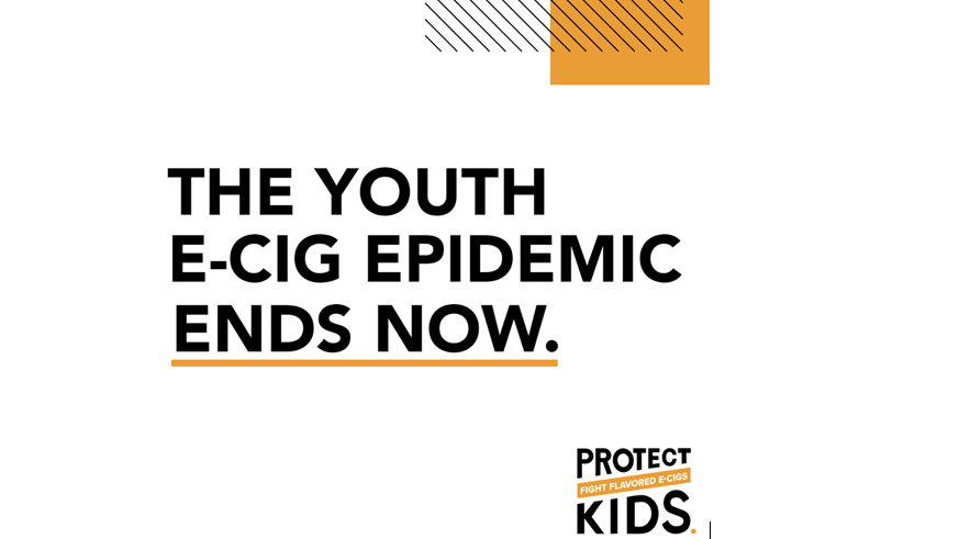 Words that say The Youth E-Cig Epidemic Ends Now