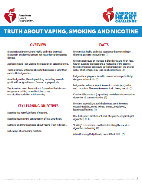 For Middle School: The Truth About Vaping, Smoking, and Nicotine