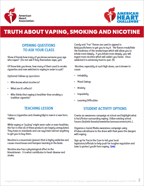 For High School: The Truth About Vaping, Smoking, and Nicotine