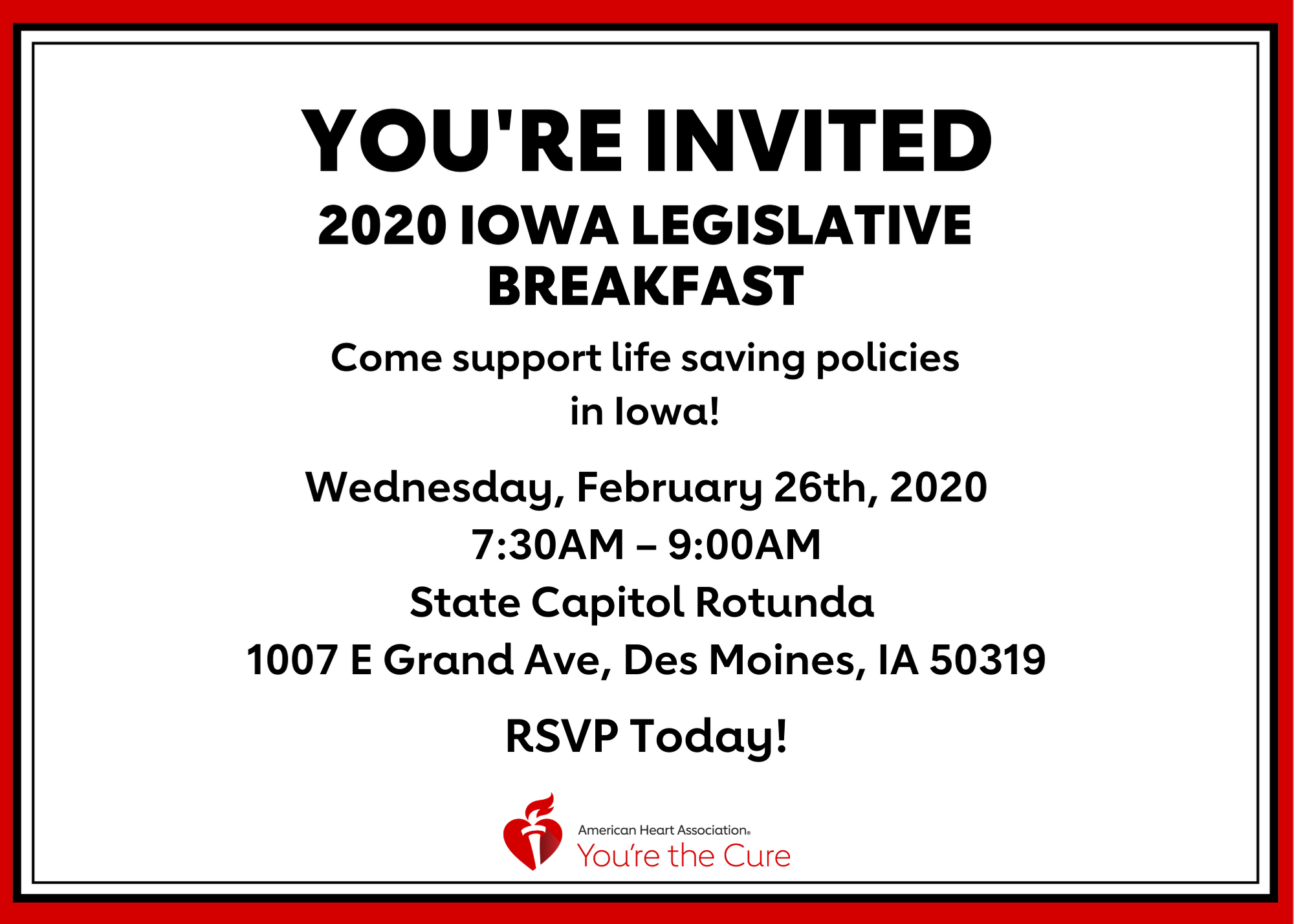 Legislative Breakfast invite with event details