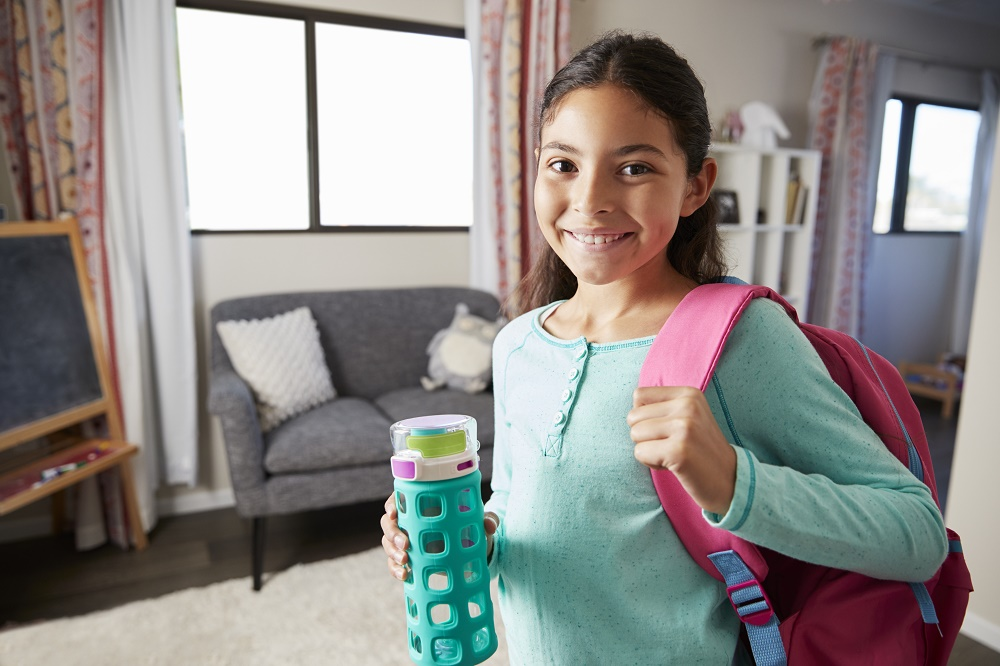 Girl with a water bottle.
