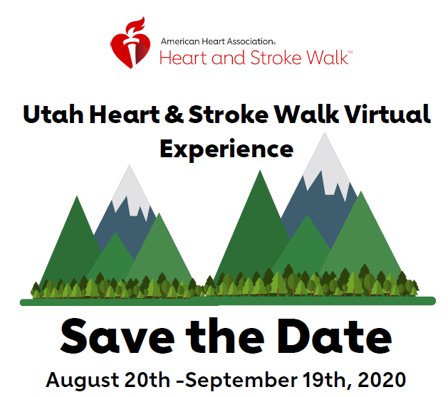 The words Utah Heart and Stroke Walk Virtual Experience above a picture of mountains
