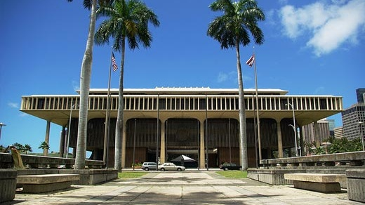A street view picture of the Hawaii Capitol building