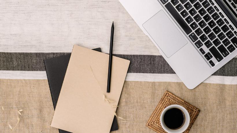 Laptop, Pen, Notebook, Coffee