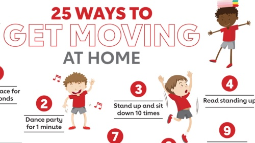 The words 25 ways to get moving at home with cartoon people doing physical activities