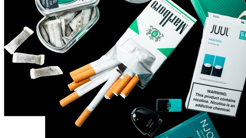 Picture of a variety of tobacco products including cigarettes, JUUL, and more