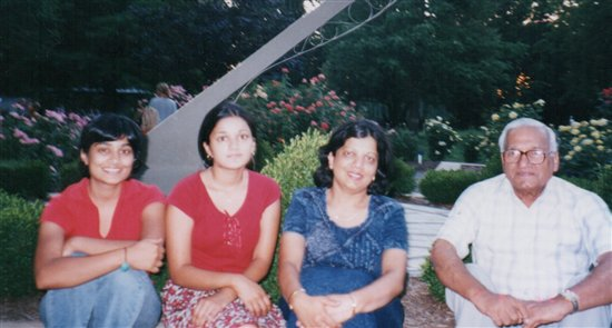 (l-r) Neha, and her sister, mother, and grandfather
