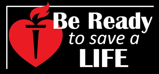 "American Heart Association heart and torch with text that reads ""Be ready to save a life"""