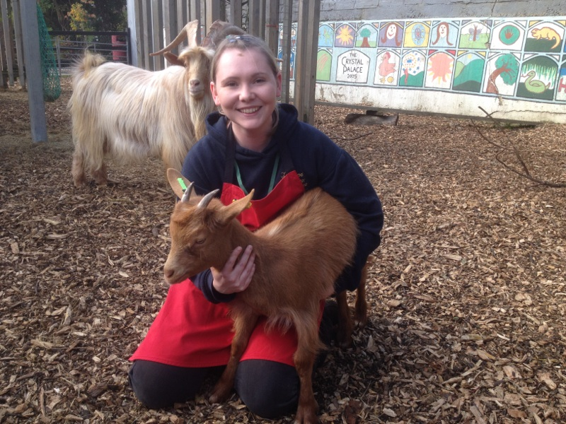 Student with goat