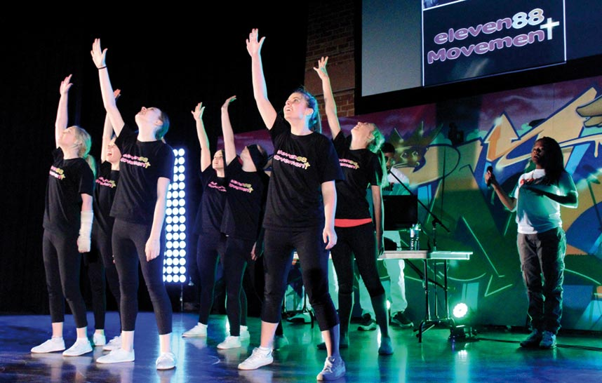 The Eleven88 team performing at an outreach event.