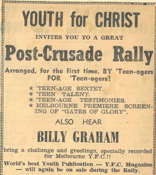 Advertisement for a 1956 Rally in Melbourne