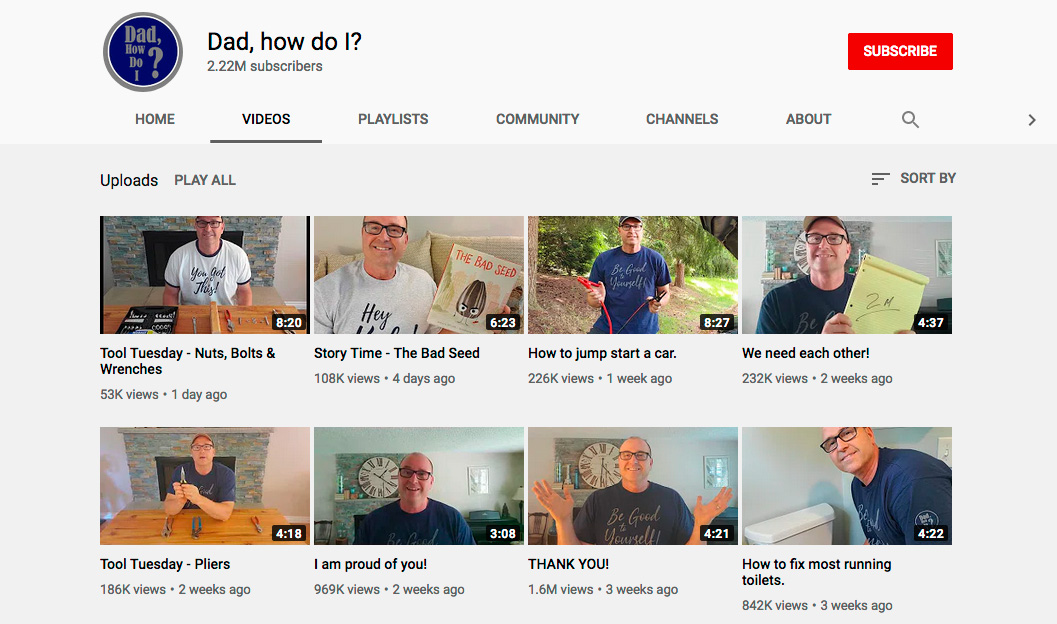 "The ""Dad, how do I"" Youtube channel gained 2.2 million subscribers in two months."