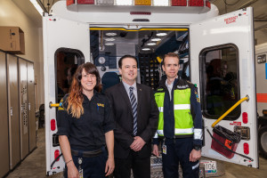 Brad Cathers opens the new EMS station on Hospital Rd