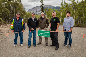 A group of Yukon government and Carcross/Tagish First Nation representatives recently visited the Conrad Campground, set to open to the public next May. Shown here (L to R) Bob Edzerza, Project Manager, Carcross Tagish Management Corporation; Minister of Environment Wade Istchenko; Eric Schroff, Director, Parks Branch, Yukon Environment; Khà Shâde Héni Danny Cresswell, Carcross/Tagish First Nation; and Justin Ferbey, CEO, Carcross Tagish Management Corporation.