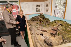 Tourism and Culture Minister Elaine Taylor visits one of Yukon's many tourism attractions, the Copperbelt Railway and Mining Museum in Whitehorse. Shown here with Richard Jamieson, the President of the Miles Canyon Historic Railway Society, which operates the museum.