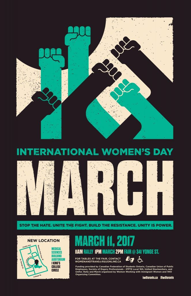 An image of the poster for the 2017 International Women's Day Toronto rally and march