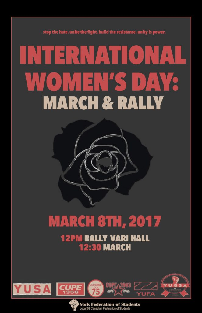 An image of the poster for an International Women's Day rally at York University, with all the logos of the member groups of the York Cross-Campus Alliance displayed at the bottom
