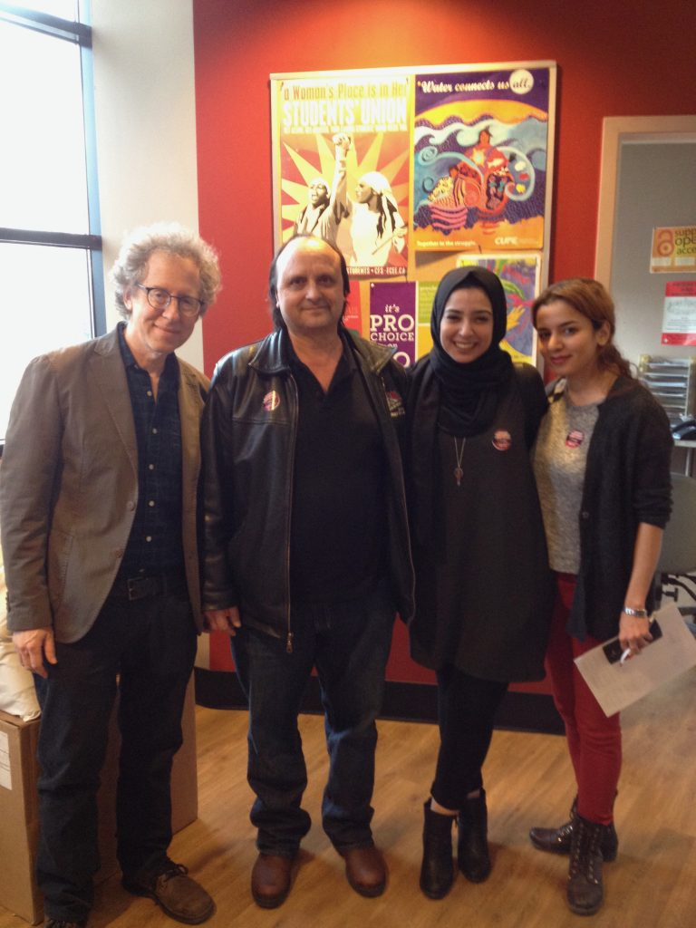 Four representatives of the York Cross-Campus Alliance attended the Board of Governors meeting on February 28, 2017 (L-R): Richard Wellen, YUFA President; Walter Silva, CUPE 1356 President; Rawan Habib, YFS Vice-President Campaigns; Mina Rajabi, YUGSA President.