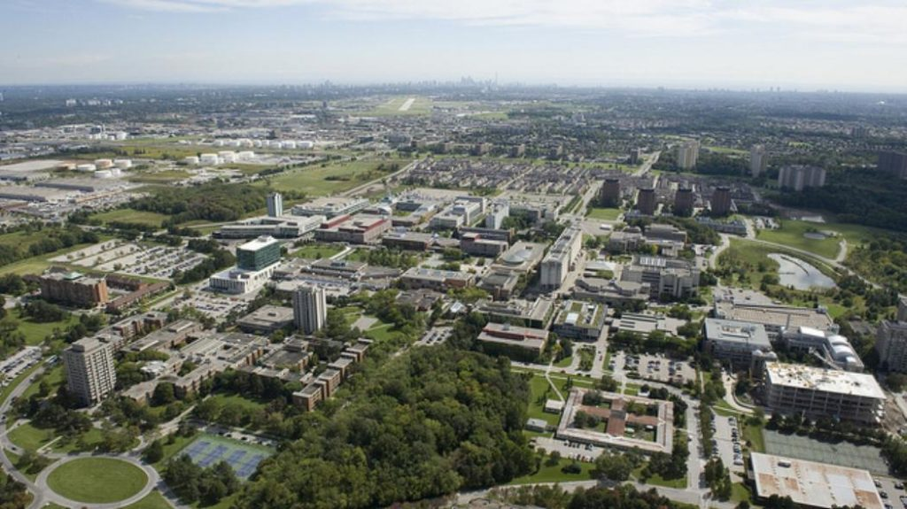 A south-facing aerial view of the Keele campus, York University