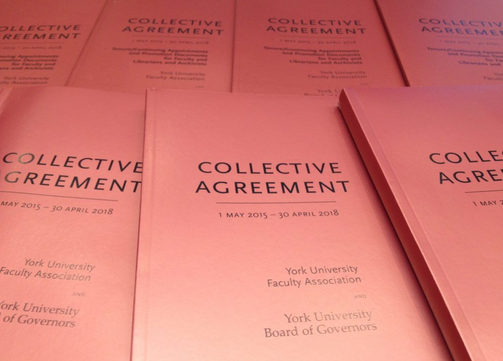 An image of the printed version of the 2015-18 Collective Agreement and the 2015-18 Tenure & Promotion Documents