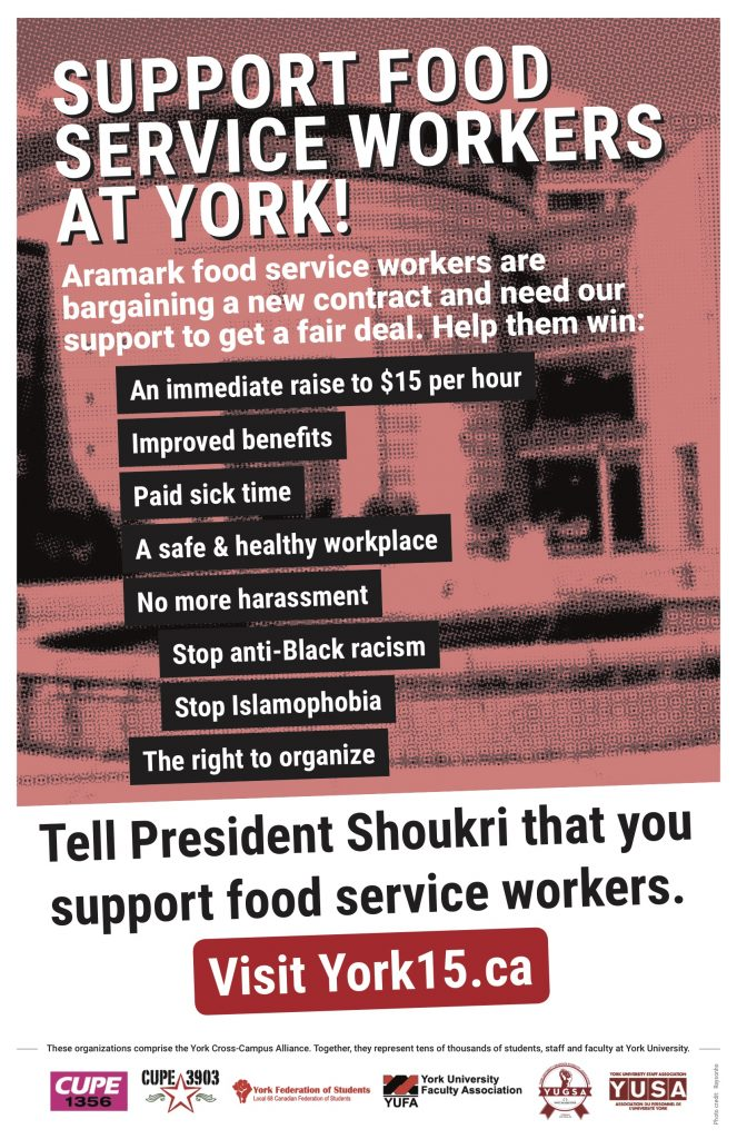 A York Cross-Campus Alliance (CCA) poster displaying support for food service workers at York