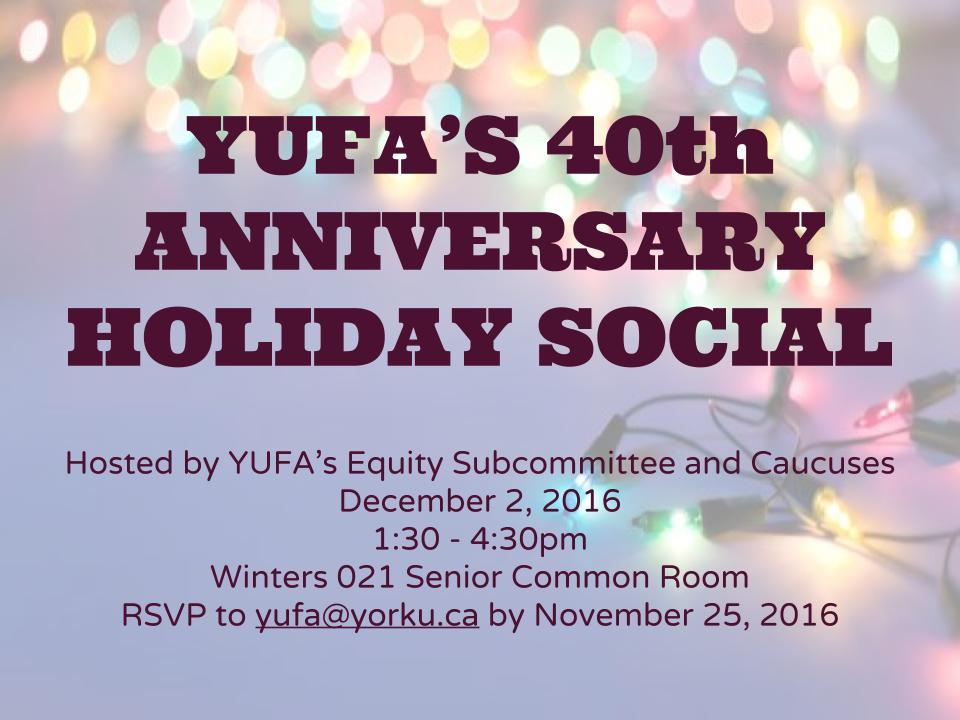 The leaflet for the YUFA Holiday Social 2016, with the image of holiday lights in the background