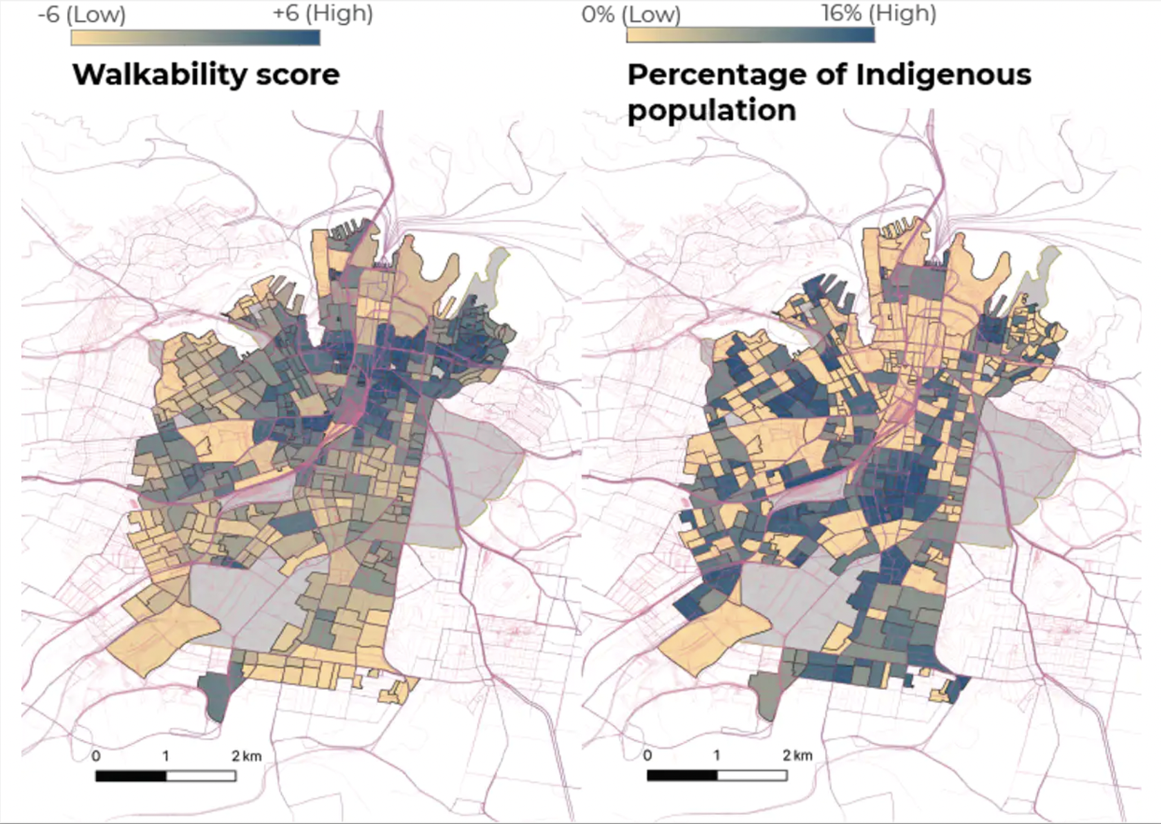 The walking disadvantage of Indigenous population of City of Sydney.
